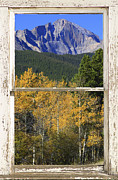 Image Prints Framed Prints - Longs Peak Window View Framed Print by James Bo Insogna