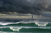 Winter Storm Prints - Longships lighthouse Print by Mark Stokes