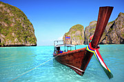 Maya Framed Prints - Longtail boat at Maya bay Framed Print by MotHaiBaPhoto Prints