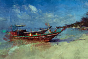 Thailand Paintings - Longtail boat on Ko Phangan by Stefan Olivier