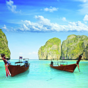 Maya Posters - Longtail boats at Maya bay Poster by MotHaiBaPhoto Prints