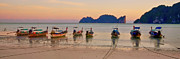 Thai Photos - Longtail Boats On Beach At Sunset by Image by Ben Engel