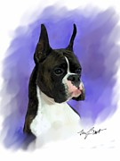 Brindle Digital Art Prints - Look At Me Print by Maxine Bochnia