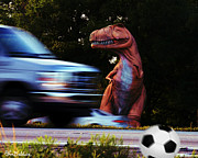 Dinosaur Soccer Prints - Look Both Ways Print by John Baldwin