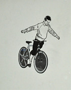 Bicycle Drawings - Look Ma No Hands by Nate Petterson