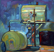 Machinery Painting Posters - Look-Out Poster by Sandra Smith-Dugan