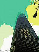 Hancock Building Digital Art Metal Prints - Look Up Chicago Metal Print by Russ Harris