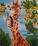 Giraffes Paintings - Lookin Back by Karen Ilari