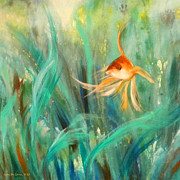 Fish Underwater Paintings - Looking - Square Painting by Gina De Gorna