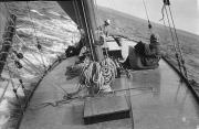 Hardware Photos - Looking Across The Deck Of A Sailboat by Bell Collection