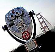 Viewfinder Photos - Looking at the Golden Gate Bridge one by Elizabeth Hoskinson