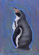 Penguin Pastels Posters - Looking At The Sky Penguin Poster by Jane Wilcoxson