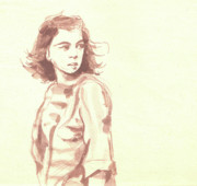 Pensive Drawings Originals - Looking back... by Sharmila L