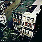 Philadelphia Photographs Prints - Looking Down at Townhouses Print by J erik Leiff