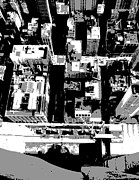 Nyc Digital Art Metal Prints - Looking Down BW3 Metal Print by Scott Kelley