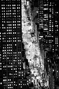 Different Views Framed Prints - Looking Down On 5th Avenue New York City With Different Night Time Lighting Colours And Conditions Framed Print by Joe Fox