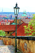 Stair Walk Framed Prints - Looking Down Over Prague Framed Print by Mariola Bitner