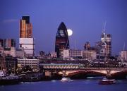 Full Moons Prints - Looking Down The Thames At Dusk To Full Print by Axiom Photographic
