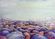 Chesil Beach Prints - Looking East Print by Merv Scoble