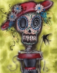 Skull Paintings - Looking for Love by  Abril Andrade Griffith