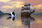Whale Digital Art Prints - Looking for Moby Dick Print by Claude McCoy