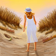 Beach Scenes Digital Art - Looking for Treasures by Sena Wilson