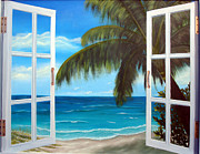 Beach Window Painting Framed Prints - Looking Out Framed Print by Darlene Richardson