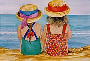 Bathing Originals - Looking out to sea. by Val Stokes