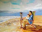 Children Painting Originals - Looking Out to See by Judy Kay
