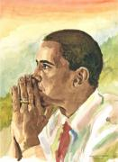 President Obama Paintings - Looking Presidential by Mimi Boothby