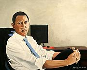 Obama Painting Metal Prints - Looking Presidential Metal Print by Patrick Hunt