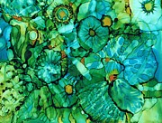 Alcohol Ink Prints - Looking Through Layers Print by Christine Crawford
