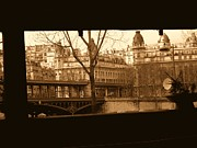 Seine Digital Art - Looking Through the Metro to a Sepia Seine by Jennifer Holcombe