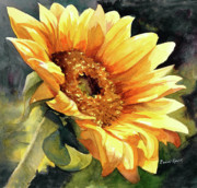 Sunflower Painting Metal Prints - Looking to the Sun Metal Print by Bonnie Rinier