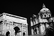Martina Framed Prints - Looking up from the Imperial Roman Forum towards Campidoglio showing arch of septimius severus Framed Print by Joe Fox