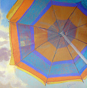 Umbrella Pastels Prints - Looking Up Print by Katherine  Berlin