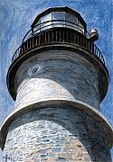 Lighthouse Painting Originals - Looking Up Portland Head Light by Dominic White