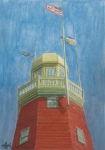 Portland Lighthouse Prints - Looking Up Portland Observatory Print by Dominic White