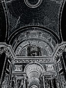 Looking Up. Vatican. Black Print by Tanya  Searcy
