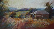 Country Cottage Pastels Prints - Looking West Print by Pamela Pretty
