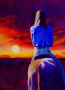 Cowgirl Acrylic Prints - Looking West Acrylic Print by Robert Hooper