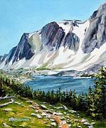 Mountains Painting Posters - Lookout Lake Poster by Mary Giacomini