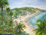 Laguna Beach Painting Prints - Lookout Over Laguna Beach Print by Bonnie Sue Schwartz
