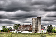 Wooden Barns Prints - Looks like Rain Print by JC Findley