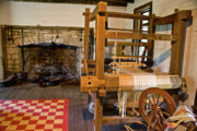 Loom Prints - Loom and Fireplace in Settlers Cabin Print by Douglas Barnett