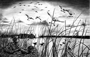 Duck Hunting Drawings - Looming Doom by Peter Piatt