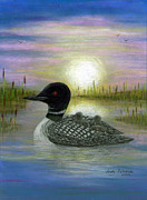 Loon Paintings - Loon Babies on Mothers Back Judy Filarecki by Judy Filarecki