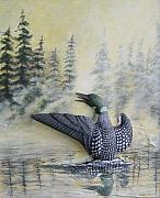Loon Sculptures - Loon In Morning Mist by Bill Whittaker