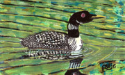 Loon Painting Framed Prints - Loon Framed Print by Robert Wolverton Jr