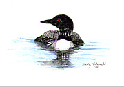 Waterfowl Paintings - Loon Swim Judy Filarecki Watercolor by Judy Filarecki